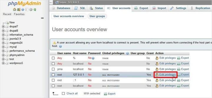 XAMPP phpMyAdmin: как создать базу данных и таблицы